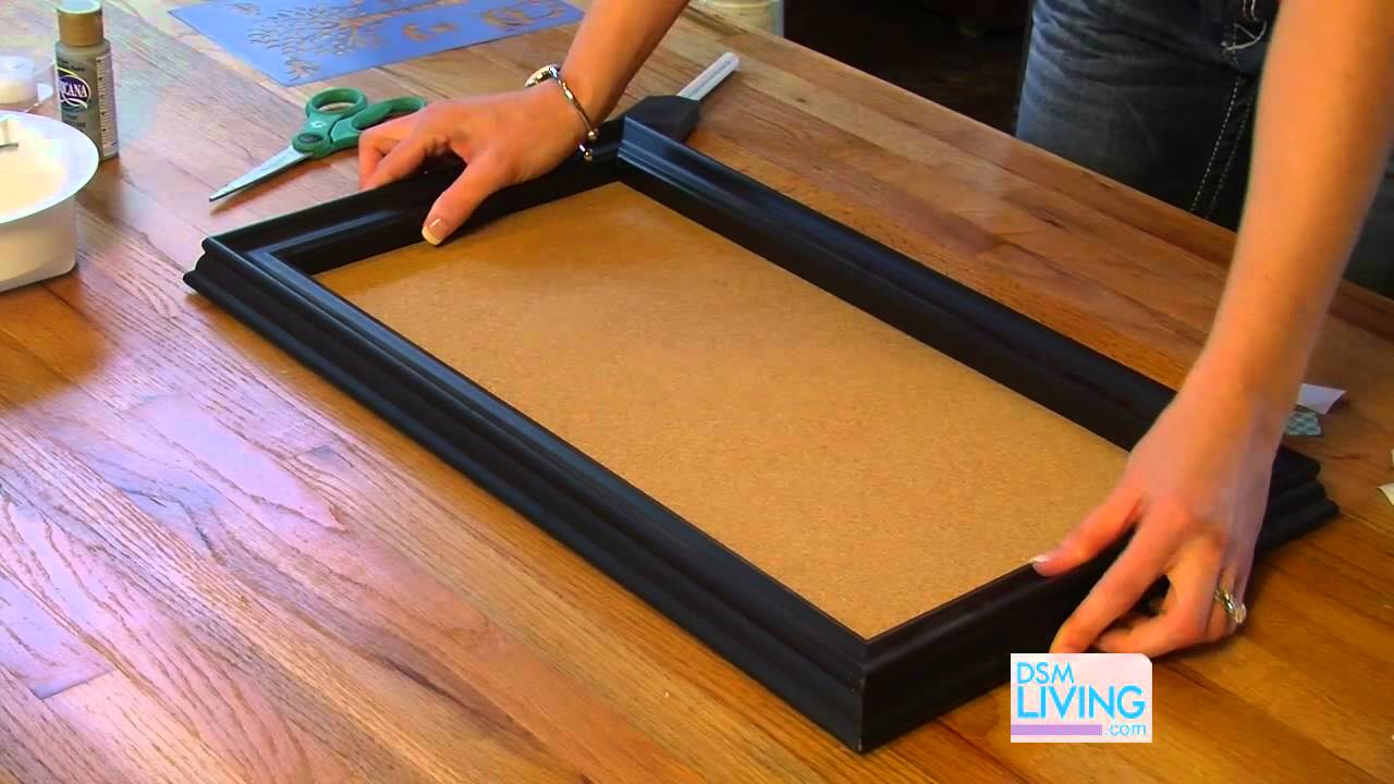 Diy cork board dsm living youtube for How to make a bulletin board without cork