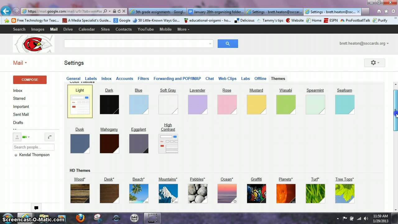 Changing gmail backgrounds