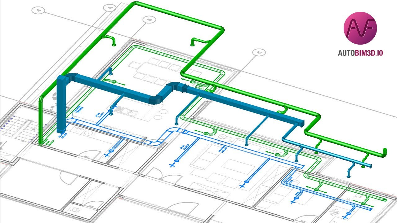 Autobim3d Integrating Hvac Networks Into A Bim Model Youtube Drawing Plans
