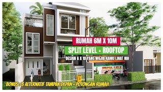 Desain Rumah Split Level 6x10 yang wajib kamu lihat - Split Level house 6x10 with Rooftop