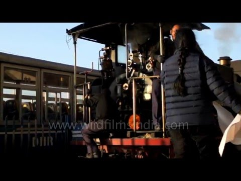 Darjeeling Himalayan toy train moves in slow motion