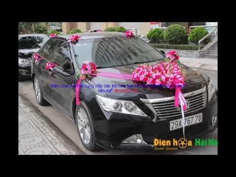 Hướng dẫn lắp đặt hoa giả trang trí xe cô dâu trái tim hoa hồng sen và hồng phấn