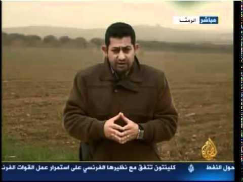 تنسيقية درعا   الجزيرة   تقرير ياسر ابو هلالة من الحدود السورية الاردنية 22 01 2012
