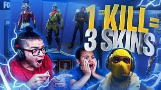 1 KILL = 3 FREE SKINS FOR MY 9 YEAR OLD LITTLE BROTHER! 9 YEAR OLD PLAYS SOLO FORTNITE BATTLE ROYALE