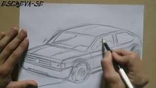 Como desenhar um carro (Gol Quadrado para iniciantes) How to draw cars