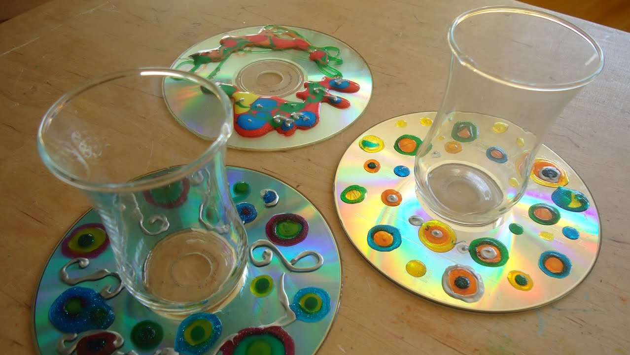 Posavasos con CD reciclado. Trabajo manual para niños. - YouTube