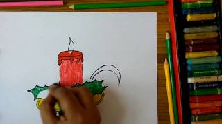 How to draw Christmas Decor Candles at home step by step very easily for kids