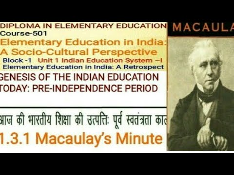 """D.el.ed Macaulay's Minutes"" Notes lecture course 501 D.el.ed Free/cheapest online एजुकेशन college"
