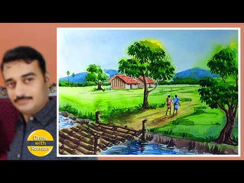 Village scenery tutorial in hindi with human figure | watercolor painting for beginners