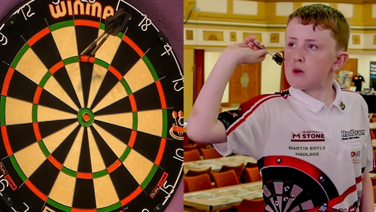 11 year old darts wonderkid finishes a 156 on masters stage youtube