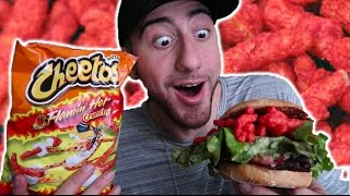 DIY HOT CHEETOS BURGER TASTE TEST!!