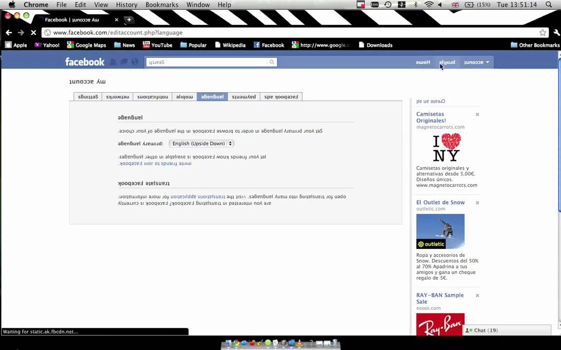 facebook in english language