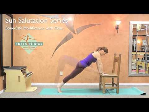 yoga sun salutation with chair modification  youtube