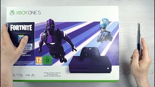 Xbox ONE S - FORTNITE Console Unboxing + DARK VERTEX SKIN BUNDLE + GIVEAWAY