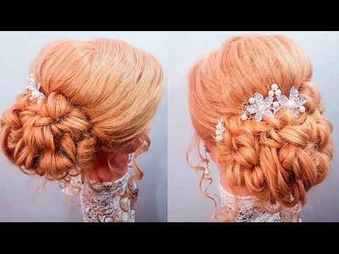 Прически объемный пучок локоны романтическая прическа на средние волосы