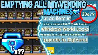 EMPTYING MY VENDING MACHINES (I SOLD ALL MY ITEMS) IN GROWTOPIA...
