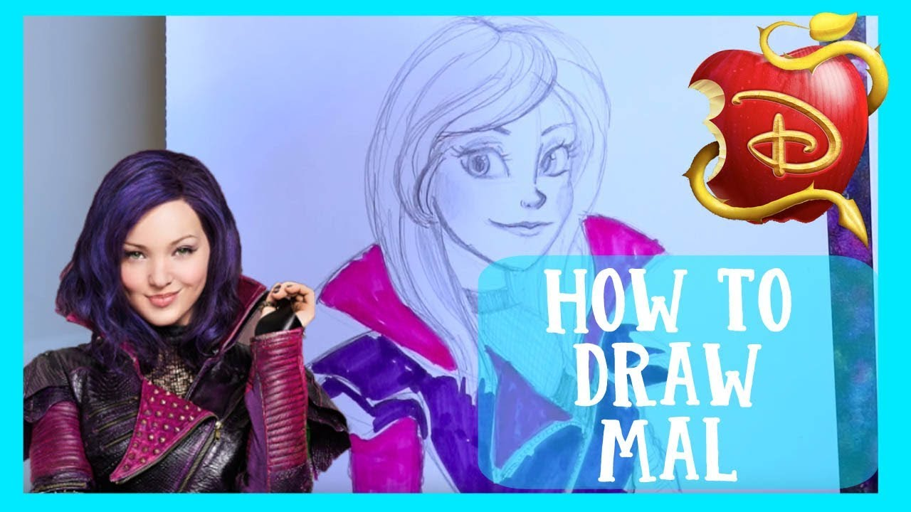 How To Draw Mal From Disney S Descendants Wicked World