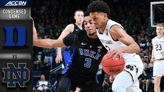 Duke vs. Notre Dame Condensed Game | 2018-19 ACC Basketball