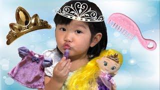 ラプンツェルお世話ごっこ♡ヘアメイクプラッシュドール デラックスセット Rapunzel Doll Hair Make Toy