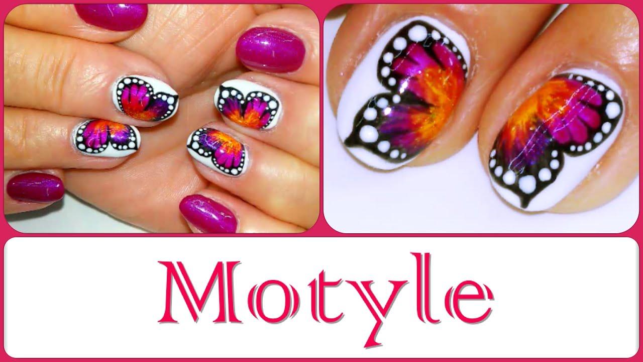 Motyle Na Paznokciach Butterfly Nail Art Youtube
