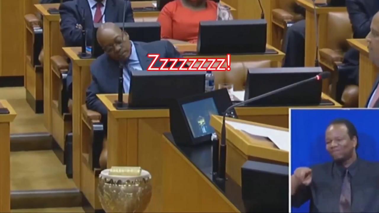 South Africa's President Jacob Zuma sleeps while finance minister Pravin Gordhan presents budget Speech!