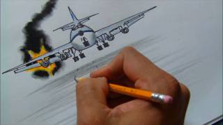 How to Draw a Burning Plane. (HD) NELSON HARRINSSON