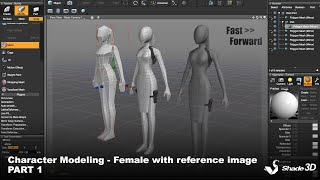 Character Modeling - Female with reference image PART 1  (Shade 3D)