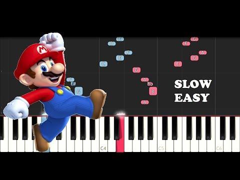 Super Mario Bros Theme (SLOW EASY PIANO TUTORIAL)