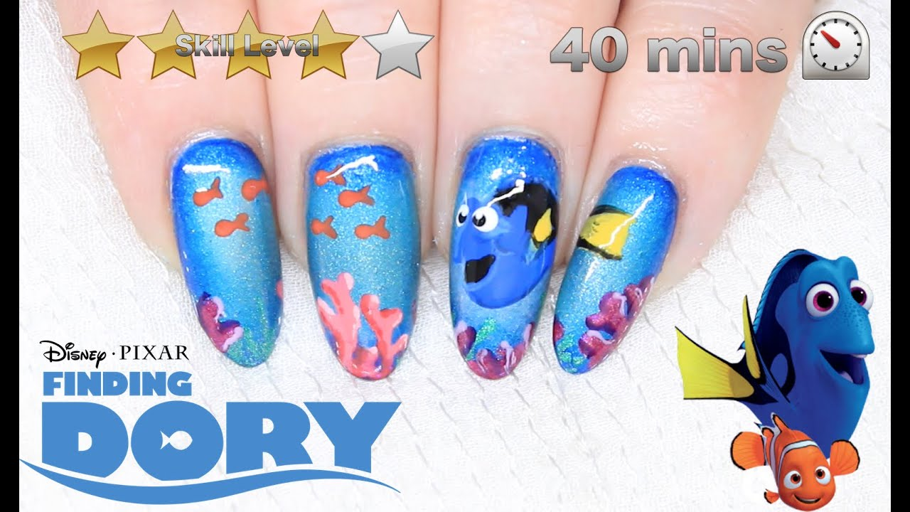Disney finding dory nail art nemo nails collab with red ted art disney finding dory nail art nemo nails collab with red ted art youtube prinsesfo Gallery