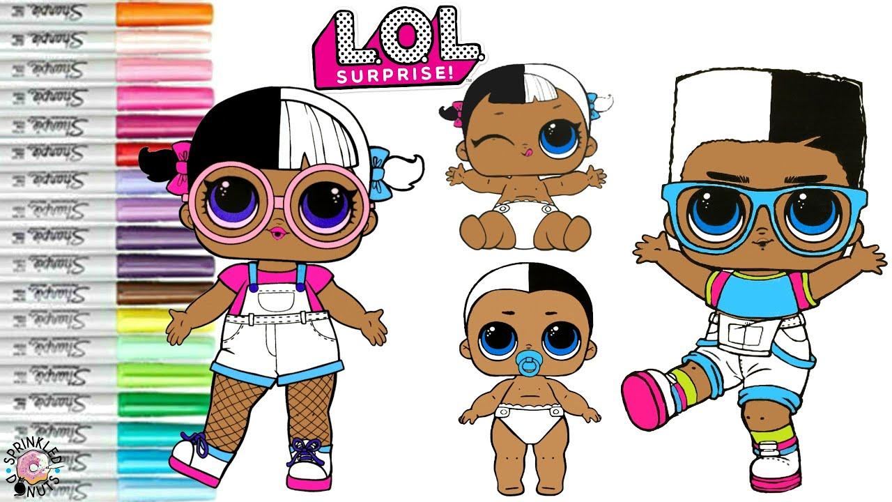 LOL Surprise Dolls Coloring Book Page Next Door Family Boy Next Door Lil  Bro Lil Sister & Baby Next