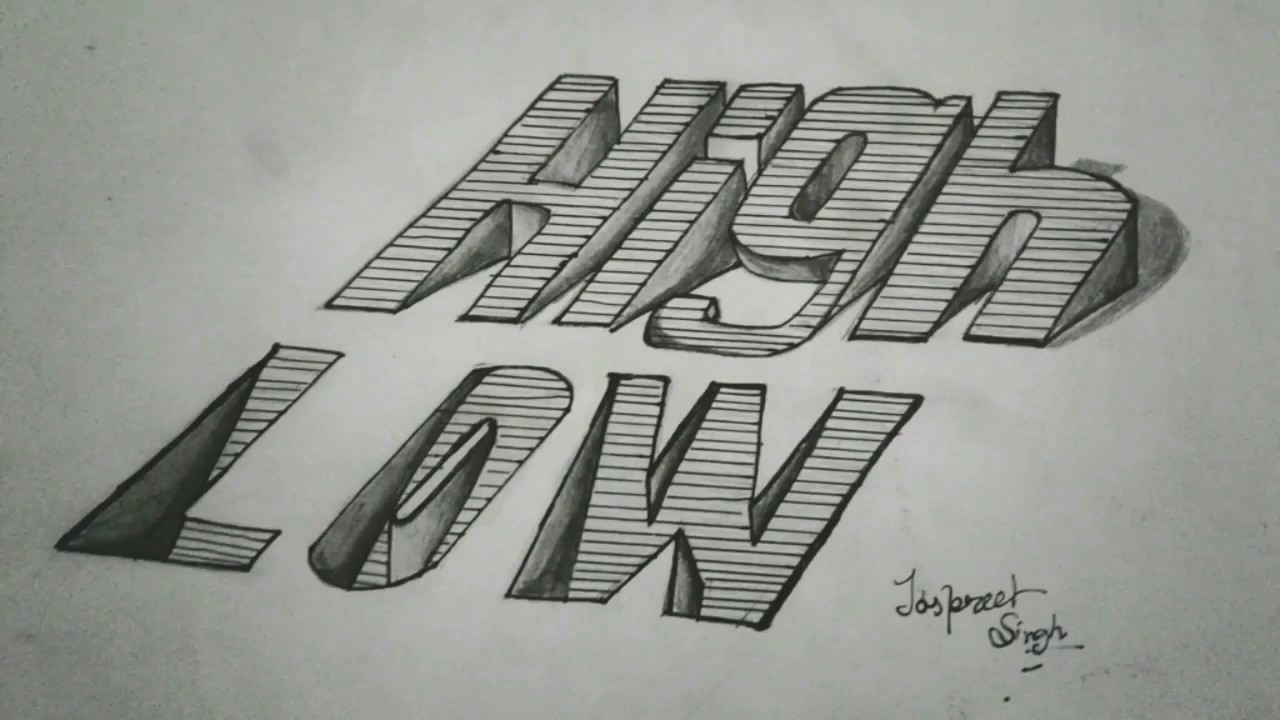 How to draw 3d letters on paper pencil art artist munda