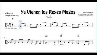 Ya vienen los Reyes Magos Sheet Music for Viola Christmas Carol in C Clef