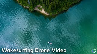 Wakesurfing Drone Video on the Lake in 4K
