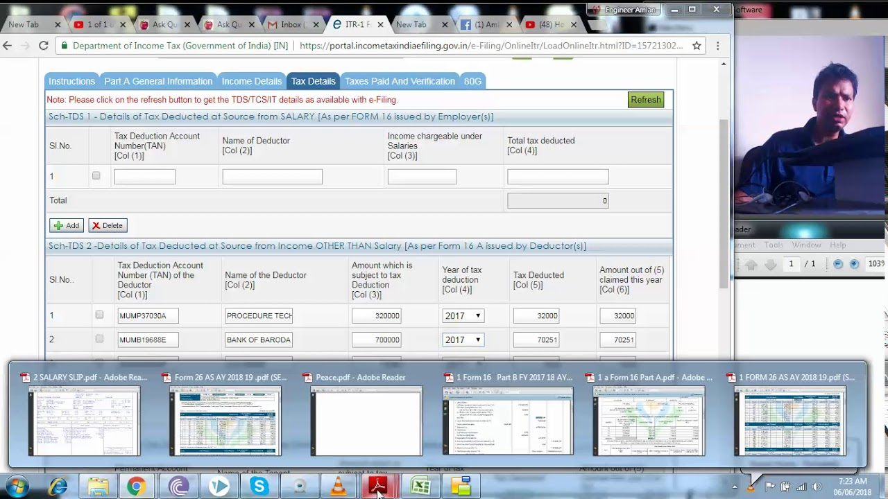 How To Claim Tds Deducted By Bank Itr I Ay 2018 19 Section