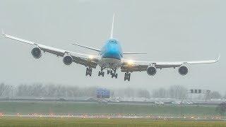 STORM DENNIS - CROSSWIND LANDINGS at Amsterdam - Airbus A380, Boeing 747, HARD A300 LANDING (4K)