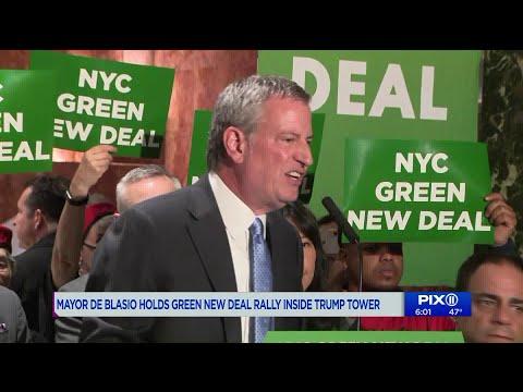 Trump supporters crash Mayor Bill de Blasio`s `Green New Deal` rally