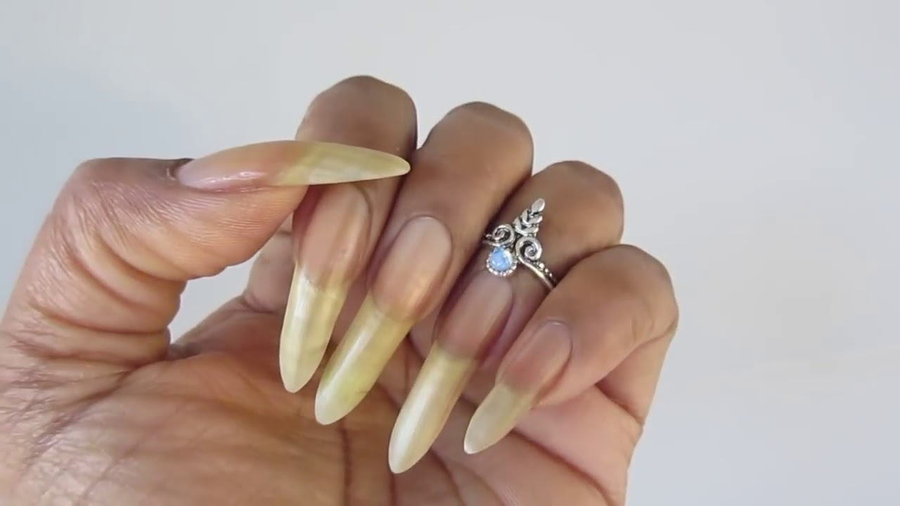 Stiletto Natural Nails By Our Hand Model Rubys Longnails Video 1