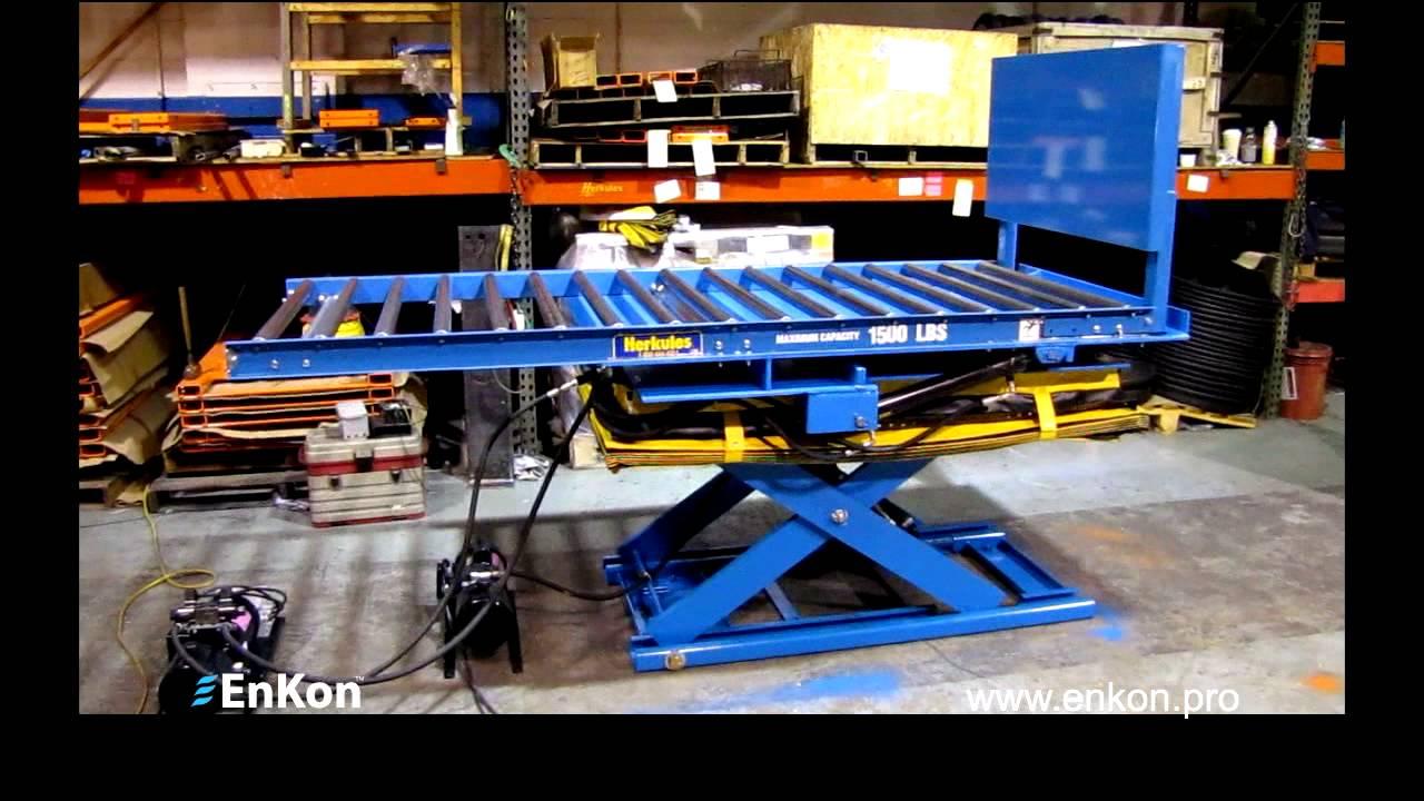 Enkon Hydraulic Lift With 90 Degree Tilt And Conveyor