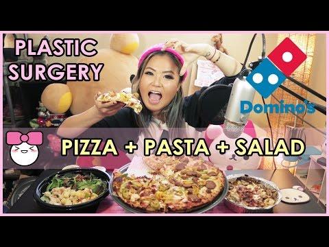 DOMINOS PIZZA + CHICKEN CARBONARA PASTA!! MUKBANG [먹방]