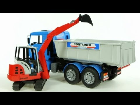 man-tipping-container-truck-with-schaeff-mini-excavator-(bruder-02746)---muffin-songs'-toy-review