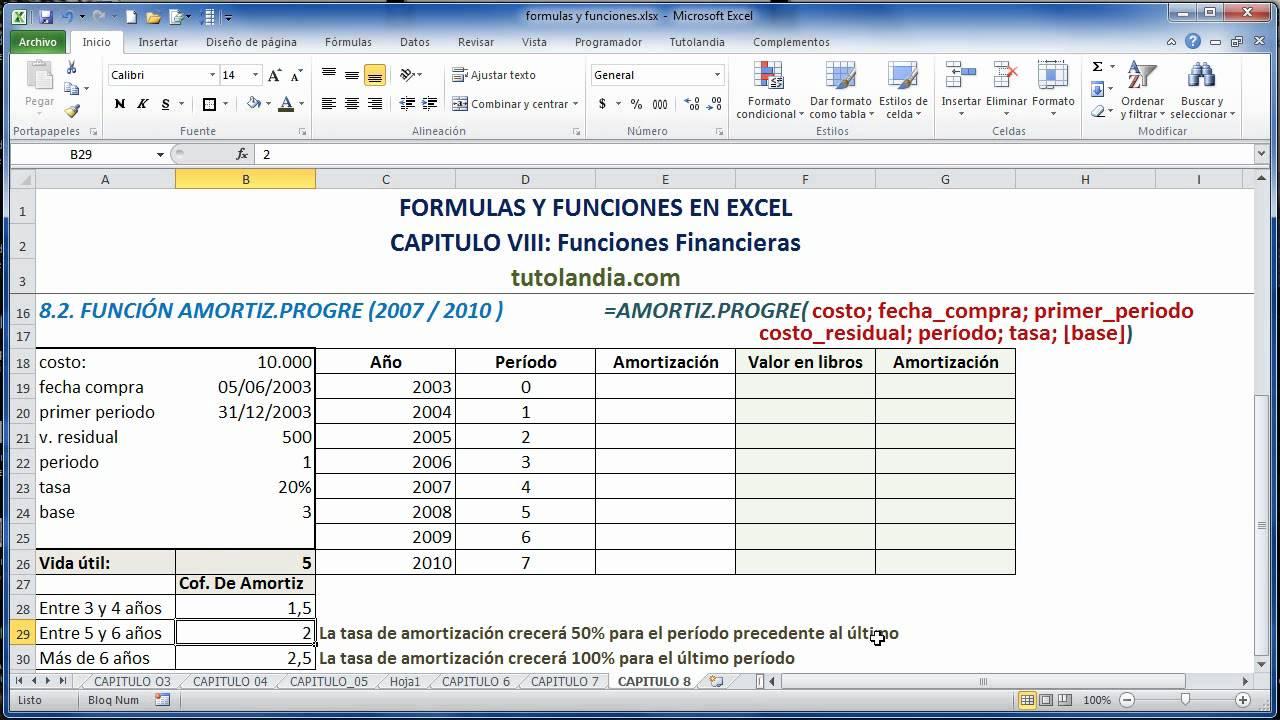 8 2 función amortiz progre formulas y funciones en excel youtube