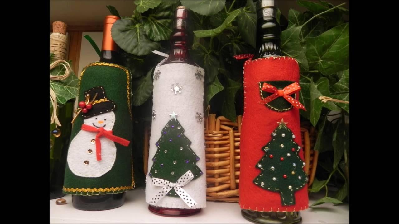 Diy manualidades para navidad delantal navide o para for Botellas de vidrio decoradas para navidad