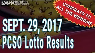 PCSO Lotto Results Today September 29, 2017 (6/58, 6/45, 4D, Swertres & EZ2)