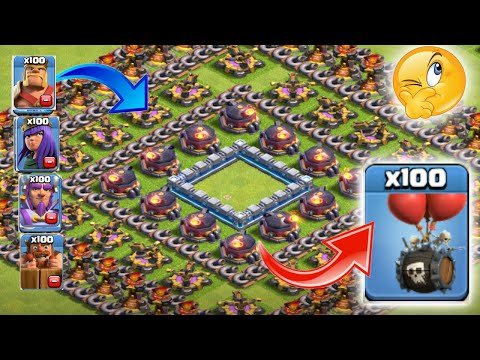 Skelton barrel😘who can survive this difficult troll trap on coc🔥xtreme battle🌟unity clash🌹