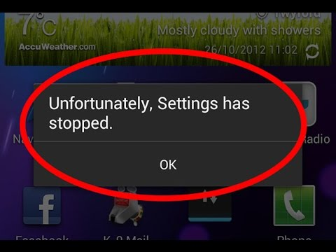 How to fix unfortunately settings has stopped working in android