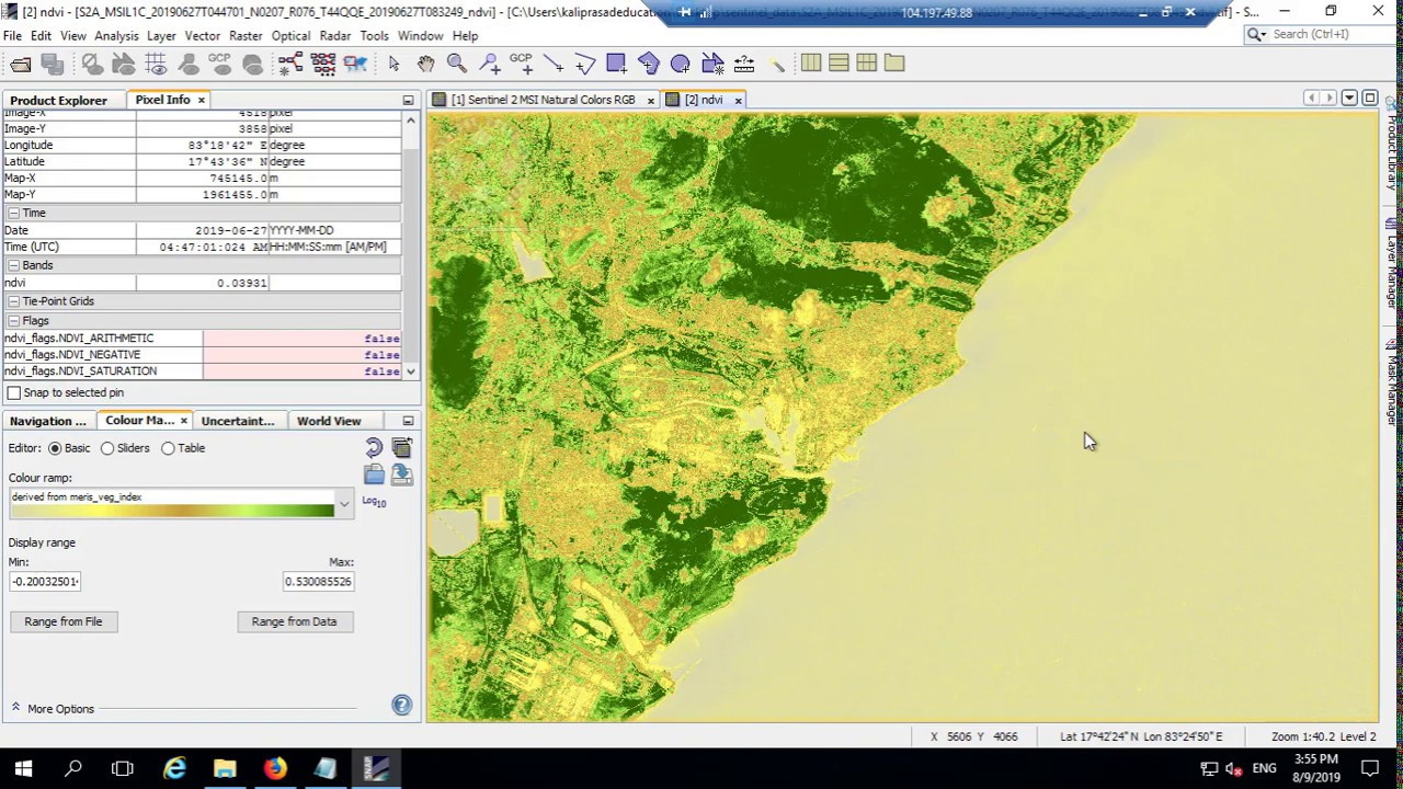 downloading sentinel 2 satellite data, calculating nvdi and converting into  geotiff format