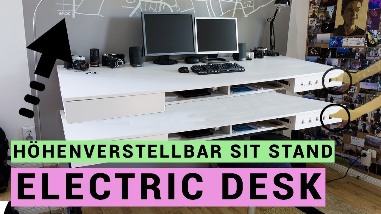 elektrischen schreibtisch selber bauen sit stand desk en subtitles youtube. Black Bedroom Furniture Sets. Home Design Ideas