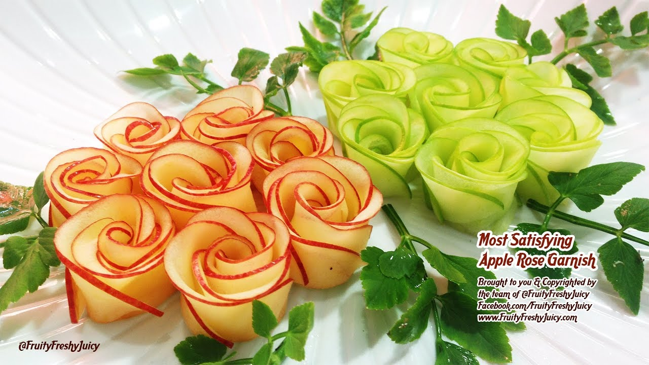 World's Oddly Most Satisfying Apple Rose Garnish Video Ever