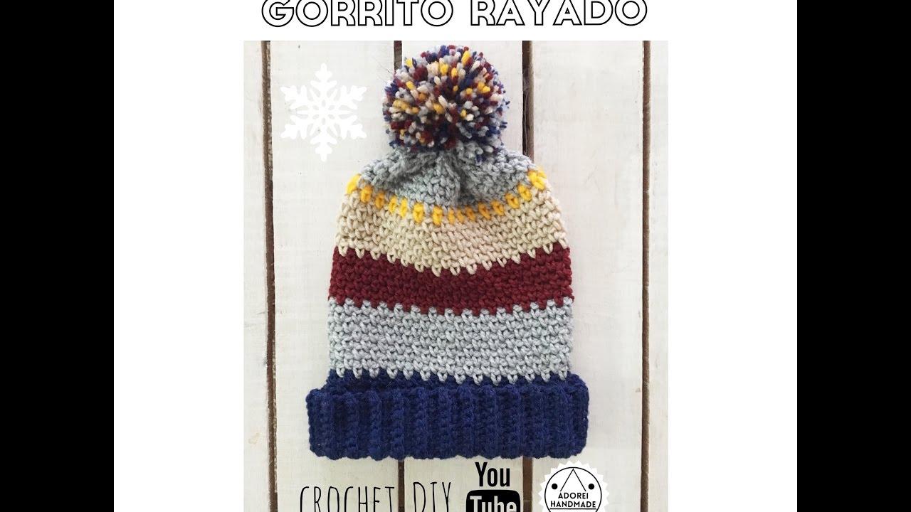 gorrito rayado tejido al crochet - YouTube