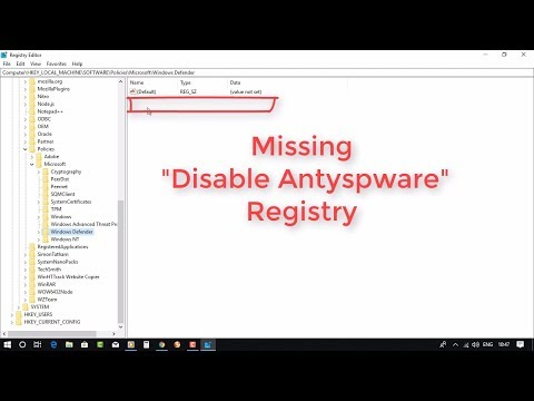 Fixed : Windows Defender Disable Anti Spyware  Registry Missing